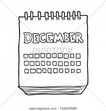freehand drawn black and white cartoon calendar showing month of December