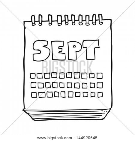 freehand drawn black and white cartoon calendar showing month of September