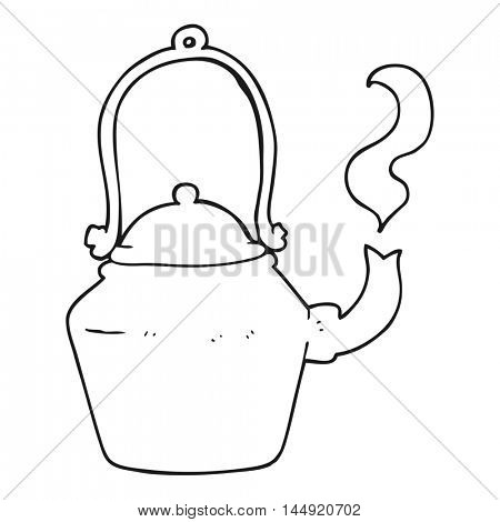 freehand drawn black and white cartoon old black kettle