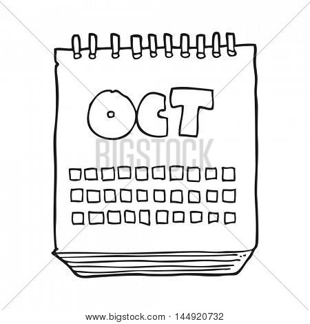 freehand drawn black and white cartoon calendar showing month of october