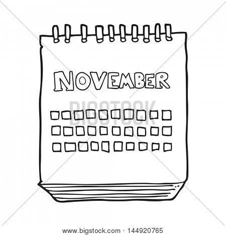 freehand drawn black and white cartoon calendar showing month of november