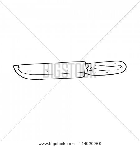 freehand drawn black and white cartoon knife