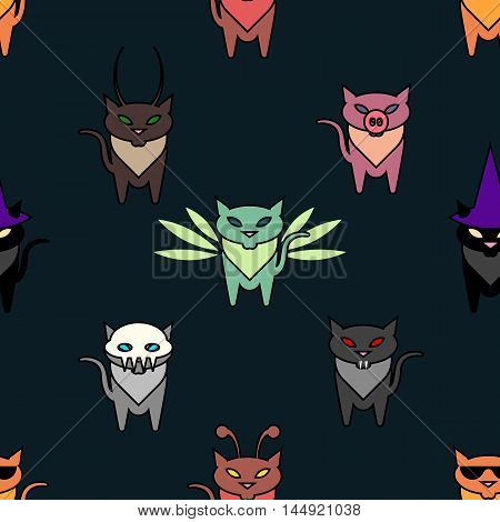 Cute Hallowen cats on the green background. Simple and nice illustration