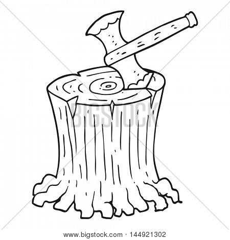 freehand drawn black and white cartoon axe in tree stump