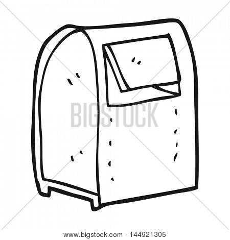 freehand drawn black and white cartoon mailbox