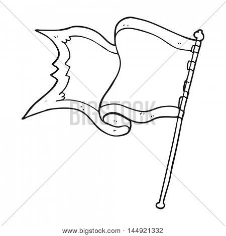freehand drawn black and white cartoon flag blowing in wind