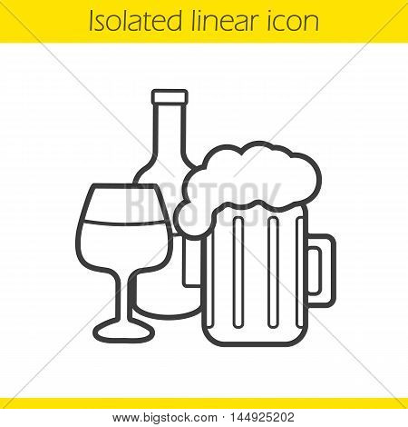Alcohol linear icon. Foamy beer mug, wine glass and bottle thin line illustration. Alcoholic drinks contour symbol. Vector isolated outline drawing