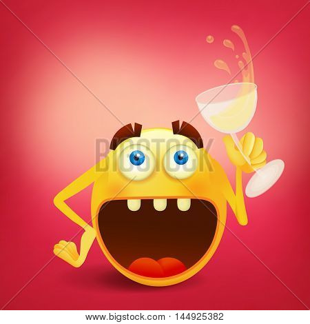 Funny laughing smiley yellow face with glass of wine. Vector illustration