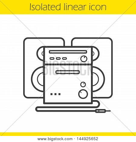 Stereo system linear icon. Thin line illustration. Sound system contour symbol. Vector isolated outline drawing