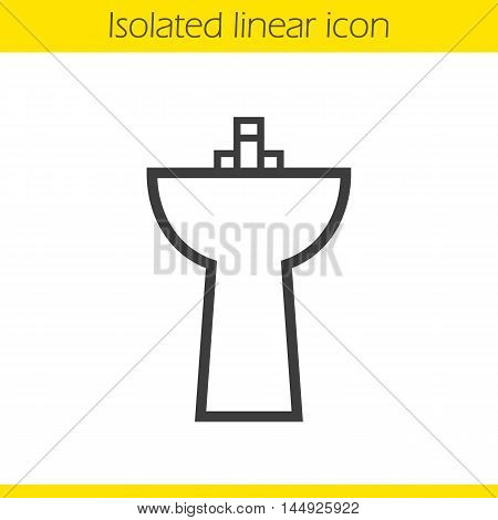 Sink linear icon. Washbasin thin line illustration. Ceramic washbowl. Contour symbol. Vector isolated outline drawing