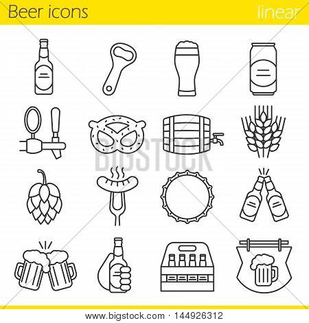 Beer linear icons set. Bar and pub thin line contour symbols. Beer glass, bottle, can, mug, tap, cap and bottle opener. Sausage, brezel, rye, hop and bar sign. Isolated vector illustrations