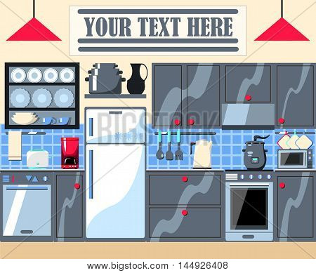 Modern home kitchen vector illustration with text place. Hi-tech kitchen interior with built-in appliances and furniture. White fridge shiny oven with stove dishwasher coffee machine teapot.