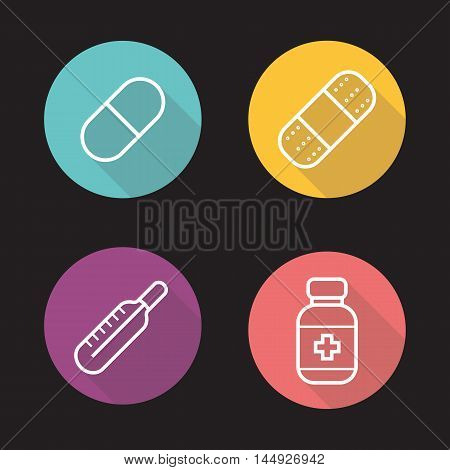 Home medicine flat linear long shadow icons set. Pill, band aid plaster, thermometer and pills bottle with cross. Vector line symbols