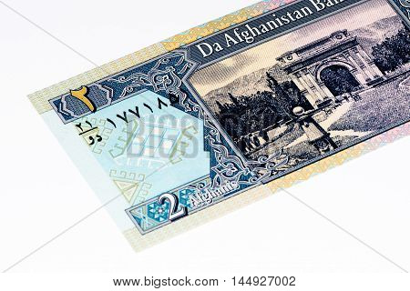 2 afghani bank note. Afgani is the national currency of Afghanistan