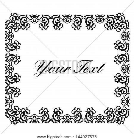 Decoration frame, floral frame, deco frame, vignette frame, graphic frame, scroll frame, menu frame, ornate frame. Vector.