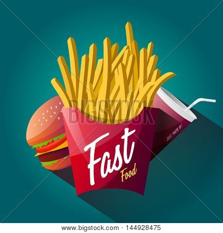 Fast food poster design isolated on blue background. Web graphics modern vector illustration. Premium quality logo design concept pictogram