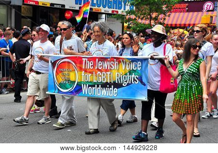 New York City - June 29 2013: Former Manhattan Boro President Ruth W. Messinger (center) marching with the Jewish Voice for LGBT Rights at the Gay Pride Parade on Fifth Avenue *
