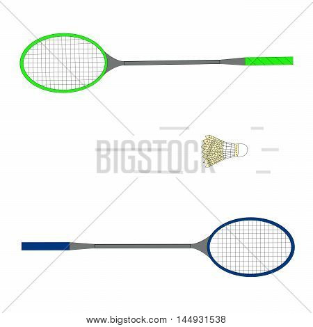 Vector logo illustration for game in badminton consisting of a flying shuttlecock yellow, green, blue racket close-up.Sports equipment for participants.The icon for the teams,winners,losers, coaches.