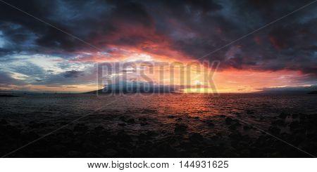 Sunset at Maui, Hawaii, Color Image, USA