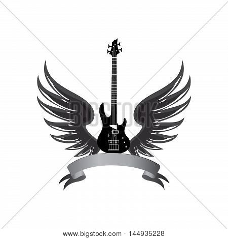 musical illustration with silhouettes of guitar wings. Rock music symbol. Electric guitar with wings and bow ribbon for text. Muical instrument background