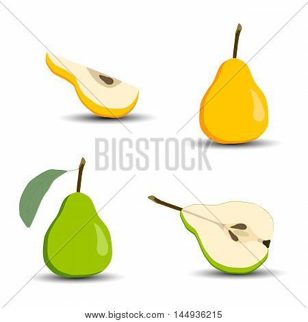 Vector illustration of the logo on the bag.Isolated drawing consists of four types of fruit,half,quarter,whole,piece, on white background.Icon on  juice,vitamin,coffee,shop,bar,restaurant,joy,cartoon.