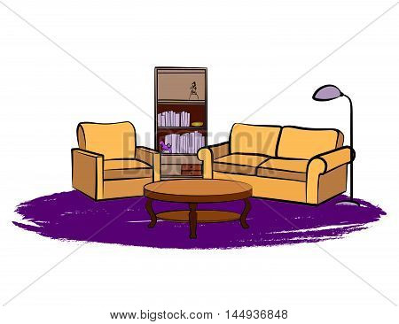Interior furniture with sofa floor lamp book shelf book and picture on the wall. Living room hnd drawing design.
