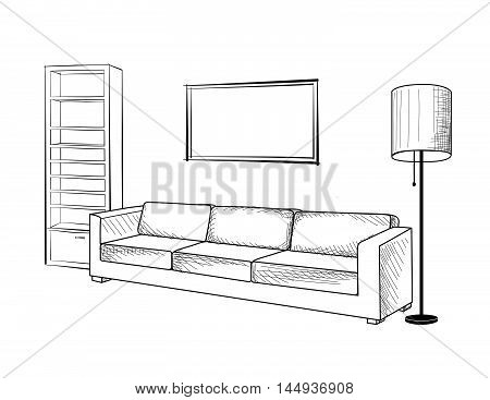 Interior furniture with sofa floor lamp book shelf and picture on the wall. Living room hnd drawing design.
