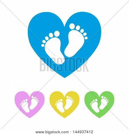 Set of the baby footprints - vector illustration. White footprints of baby inside of the heart. Presented in four color variants.