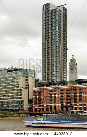 LONDON ENGLAND - JULY 8 20016: South Bank Tower (formerly King's Reach Tower until 2013) a high-rise building which has undergone extensive redevelopment and a height increase in recent years.