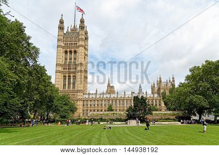 Palace of Westminster (known as Houses of Parliament). Palace of Westminster located on bank of River Thames in City of Westminster London. UK.