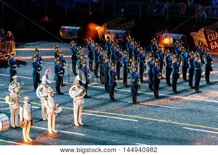 MOSCOW, RUSSIA - AUGUST 26, 2016: Spasskaya Tower international military music festival. The Honor Guard of the Presidential Regiment and the President's band at the Red Square