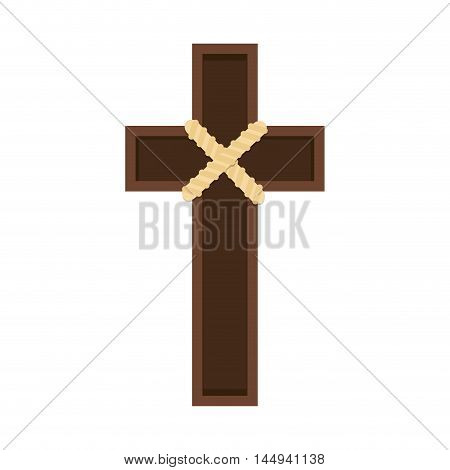wooden cross holy religion catholicism chritianity object vector illustration