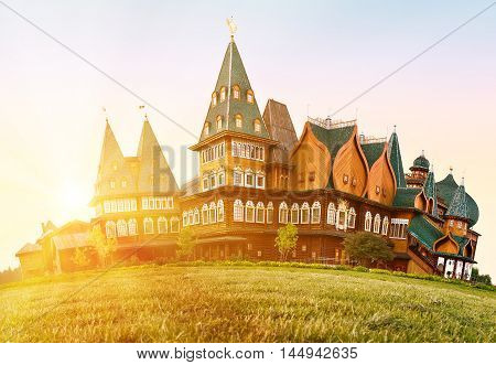 A wooden residence of the Russian Tsars in Kolomenskoye Moscow Russia