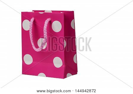 Spotted Pink gift packet isolated on white background.