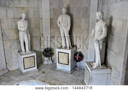 SANTO DOMINGO, DOMINICAN REPUBLIC - Jan 24 2016: Altar de la Patria, The Altar of the Homeland Statues. Houses the remains of the founding fathers of the Dominican Republic: Duarte, Sanchez, Mella.