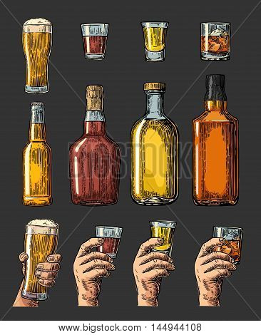 Set alcohol drinks with bottle glass and hand holding beer whiskey tequila. Vintage color vector engraving illustration for label poster invitation to party. Isolated on dark background