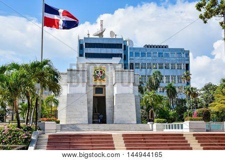SANTO DOMINGO, DOMINICAN REPUBLIC - Jan 24 2016: Altar de la Patria, The Altar of the Homeland. Houses the remains of the founding fathers of the Dominican Republic: Duarte, Sanchez, Mella.