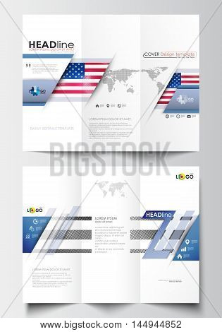 Tri-fold brochure business templates on both sides. Easy editable abstract layout in flat design. Patriot Day background with american flag, vector illustration.