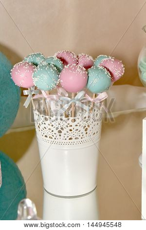 Multicolor cake pops for a birthday party