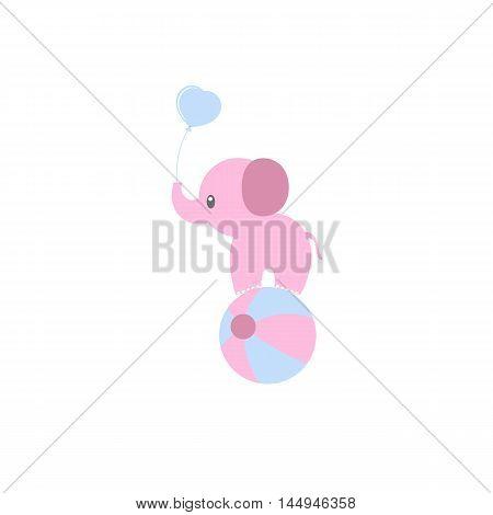 cartoon circus elephant as acrobat Cute baby Card.