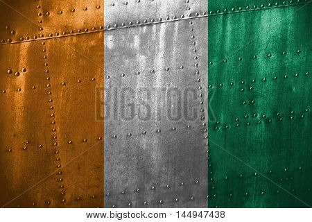 Metal Texutre Or Background With Côte D'ivoire Flag