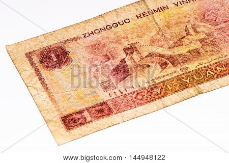 1 yuan bank note of China. Yuan is the national currency of China