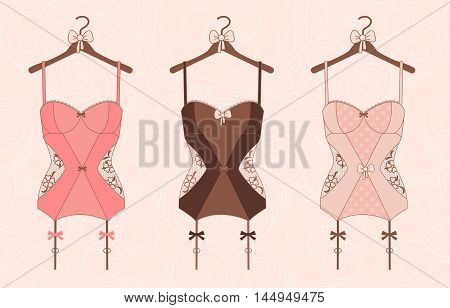 Lace lingerie. Vector illustration, flat style. Women's clothing. Illustration for magazine, advertising brochures