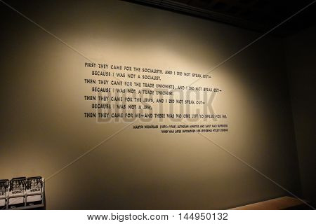 Washington DC, - Dec. 19: Internal view of the Holocaust Memorial Museum. Real pictures of the deported Jews, Nazi propaganda, territory of conquest. Shot at December 19, 2015 in Washington DC, USA.
