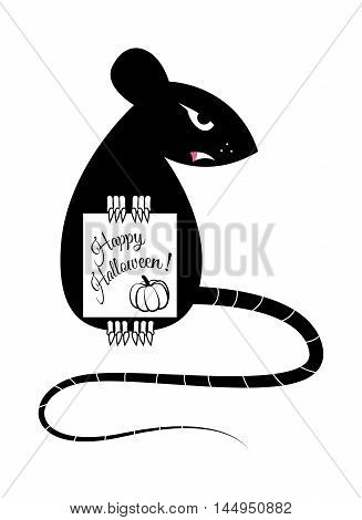 Rat holding in the paws a sheet with the words Happy Halloween