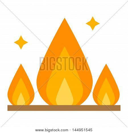 Fire flame hot burn and fire flame vector icon. Warm inferno danger fire flame and cooking yellow fire flame. Orange light blazing campfire ignite fire flame design and detail fireplace passion sign.