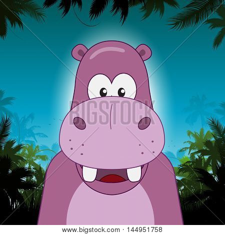 Cute cartoon vector hippo in front of jungle background
