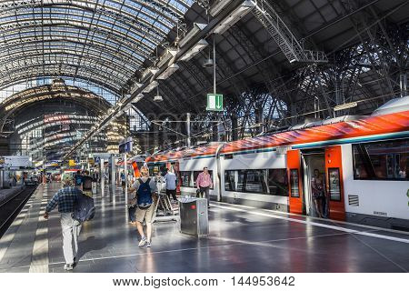 People Arrive And Depart At Frankfurt Train Station