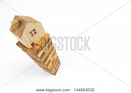 House on building block. House construction concept