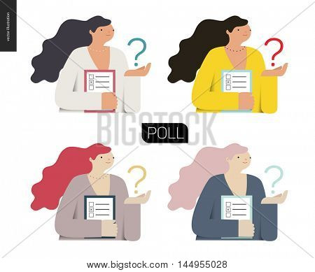 Survey icon in four colors. Flat vector cartoon illustration of a woman holding the question sign and a clipboard with the checklist on it.
